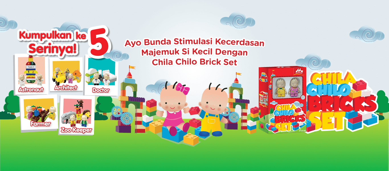 Kumpulkan ke 5 Seri Chila Chilo Bricks dengan beli Morinaga Platinum